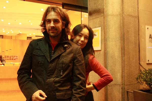 Isaki  Lacuesta i Naomi Kawase, el dia que van rodar junts a Banyoles, el  setembre de 2008.