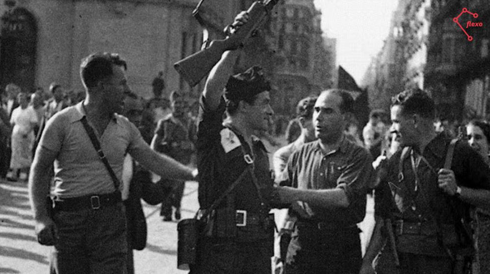 19 Julio 1936. Joan Garcia Oliver celebra el éxito anarquista