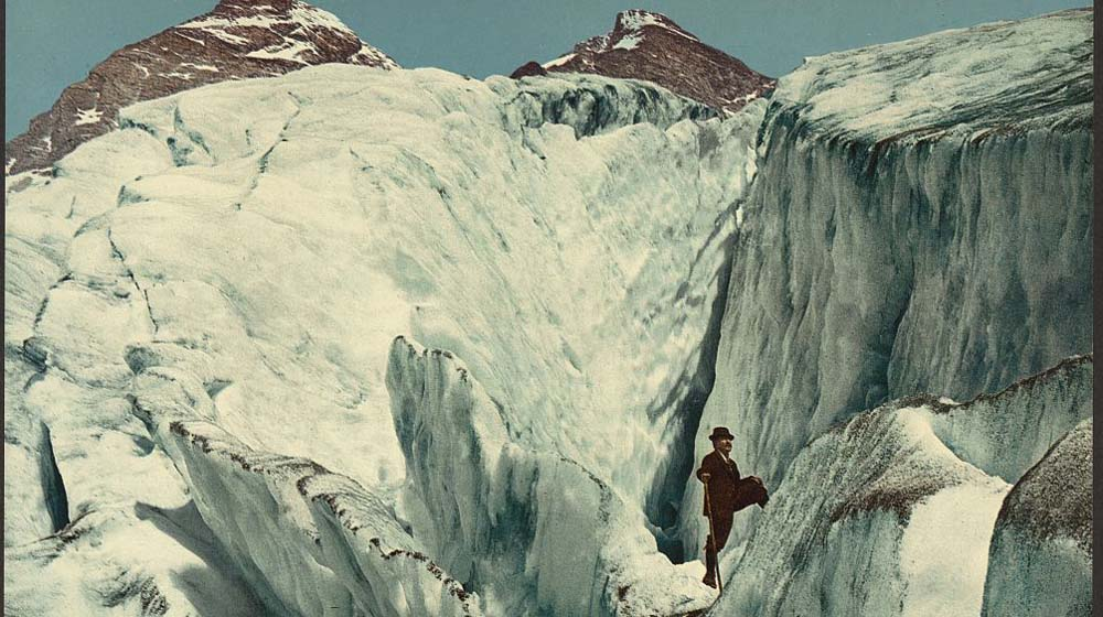 Crevasse formation in Illecillewaet Glacier, Selkirk Mountains, ca. 1902.  Photochrom Print Collection, The Library of Congress Prints and Photographs Division