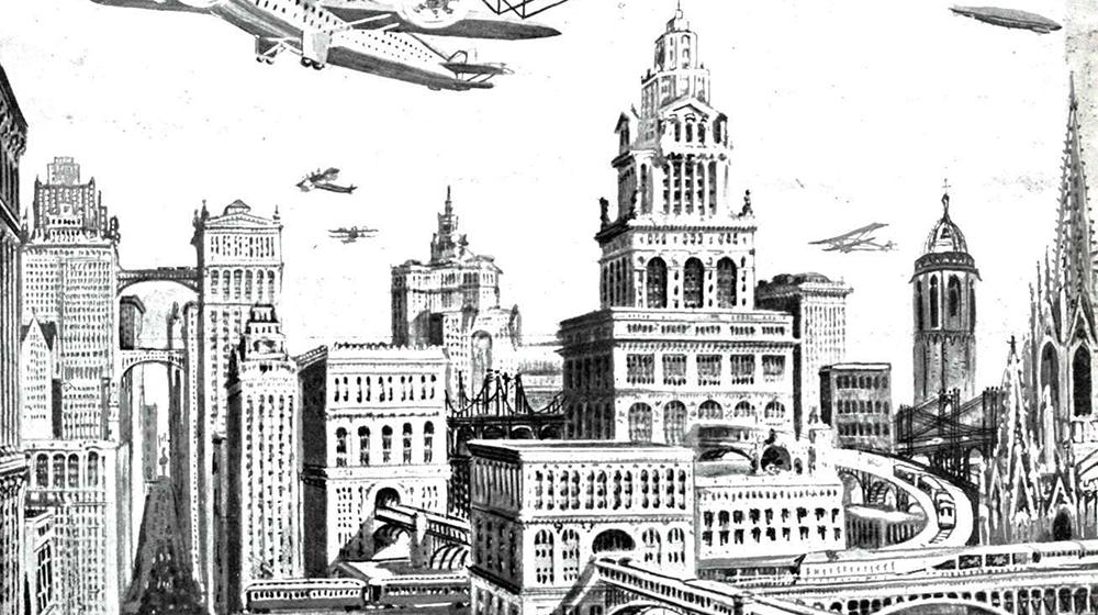 """Barcelona futurista. Publicada a la revista """"La Ilustración Ibero-Americana n.III (1929)"""