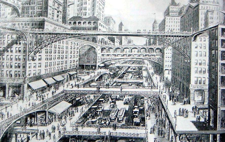 Ciudad con múltiples niveles; ilustración de W.H. Corbett, 1913