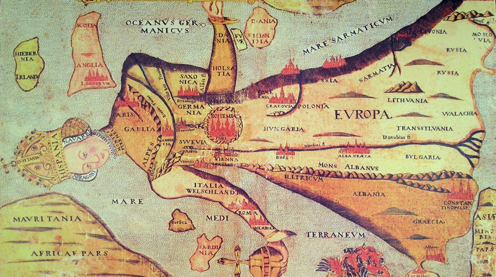 Mapa d'Europa como reina_ Museum Mausuleum Comenius, Naarden