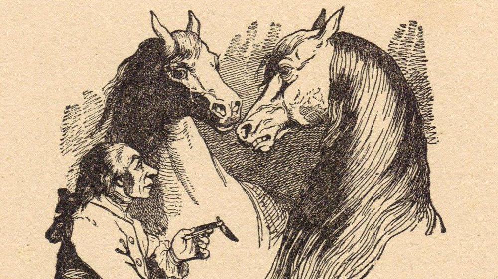 Gulliver dialoga amb els Houyhnhnms | Il·lustració de J.J. Grandville, 1856