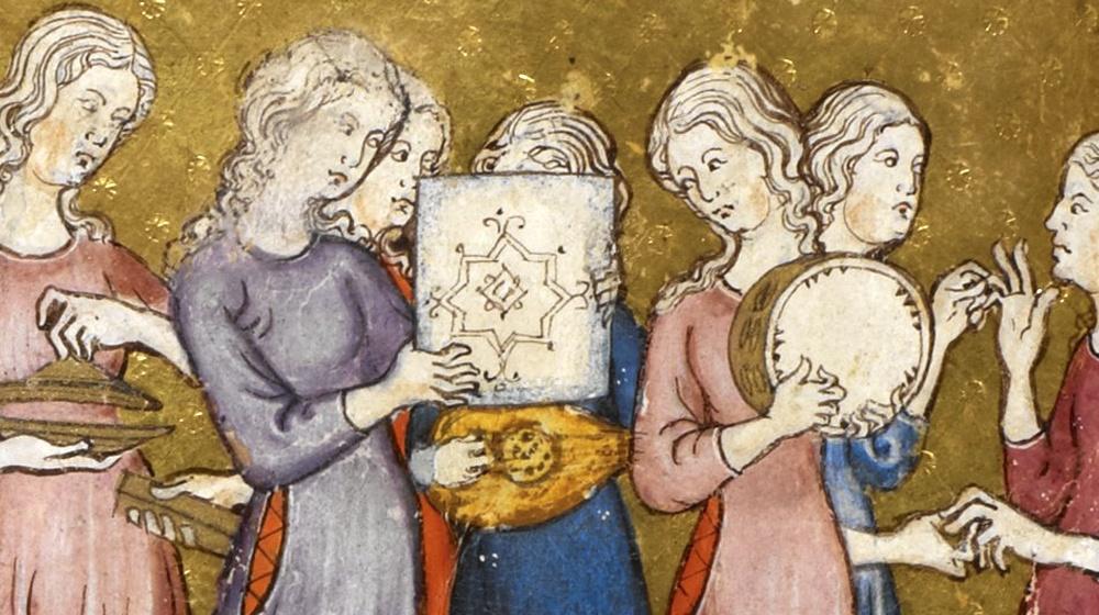 Hagadá Dorada, Barcelona, 1320. Miriam y las hebreas celebran haber cruzado el Mar Rojo