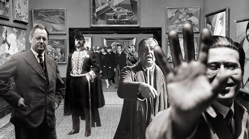 Schwitters, Marinetti, Blümner i Moholy-Nagy en una exposició de futurisme italià a Berlín, el 28 de març de 1934.