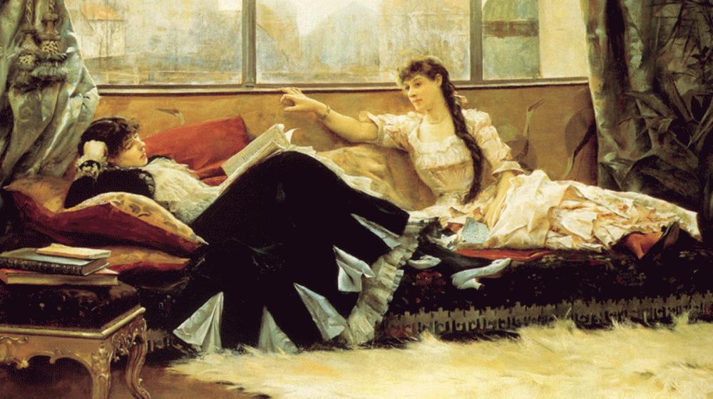 Reading Aloud, by Julius LeBlanc Stewart, 1883