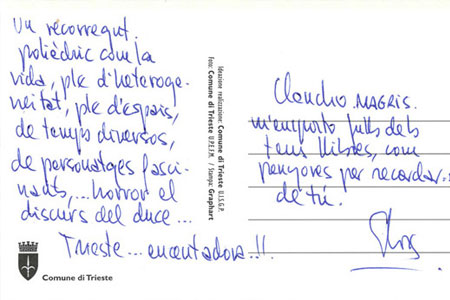 139 postales a Claudio Magris
